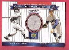 SANDY KOUFAX GAME USED JERSEY CARD 2002 WORLD SERIES MATCHUPS WITH MICKEY MANTLE