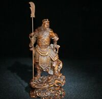 Collect Boxwood carved Guan Gong Yu Warrior God holding Sword Statue figurines