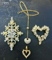 Vintage 4pc lot ROMAN costume Jewelry BROOCH NECKLACE PENDANT Clear Rhinestones