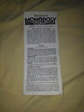 Monopoly board game spares replacement instructions M