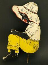 "Antique Black Americana Boy Fishing Wood & Metal 17"" Yard/Lawn Art Flag Holder"