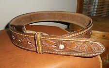 Nos Nocona Textan baseball embossed brown leather belt sz 32 Usa