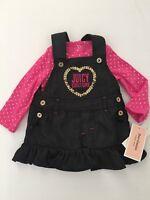 $60 Juicy Couture Baby Girl's Foil Dot Bodysuit & Denim Jumper Set Size 12 Mos