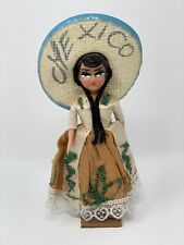 Vintage Mexico Folklore Souvenir Doll on Stand Glitter Dress Sombrero 8""