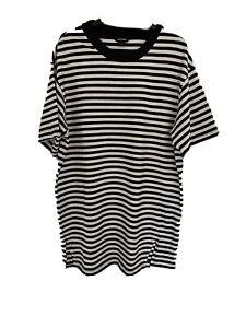 Monki Black & White Striped Oversized T-shirt Size Small