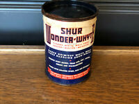 Vintage 1940's Antique Shur Wonder Whyte White Wall Tire cleaner 14 oz can Sign