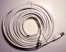 White RG59 BNC DC cable for CCTV DVR - 10m