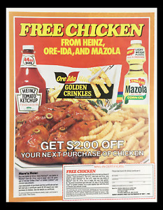 1985 Heinz, Ore-Ida & Mazola Free Chicken Circular Coupon Advertisement