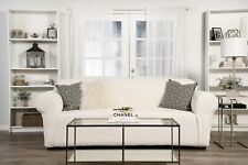 Embossed Stretch one piece sofa slipcover Ivory
