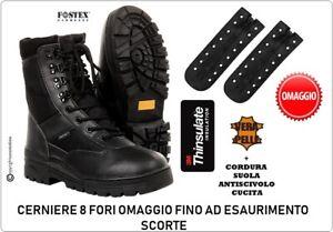 Anfibio Anfibi Stivali Scarponcino Nero Militare Fostex + Cerniere Omaggio