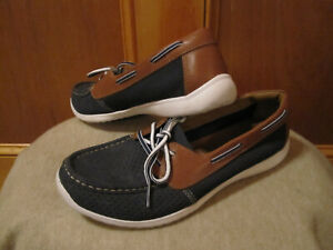 Women CLARKS Arbor Opal Boat Shoes 2 Eyed Leather/Suede Mesh Moccasins BLUE 9.5W