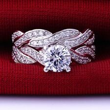 Size 5 6 7 8 9 10 11 Silver Wedding Engagement Ring Heart Infinity Wrap Promise