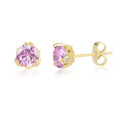 October 18ct Yellow Gold Pink Quartz Cubic Zirconia Stud Earrings Wedding-Gift