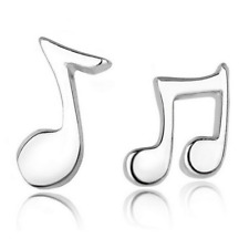 Women Fashion Music Note 925 Silver Plated Ear Stud Clip Wedding Earring Jewelry