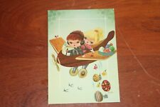 Easter Egg themed Aircraft flying colour postcard by Cecami in Italy