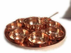 Indian handmade hammered 100% pure copper thali set dinnerware serving Ayurvdea.