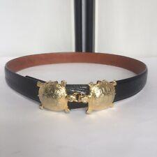 Terry Stack Women Medium Belt Black Italian Leather Gold Kissing Turtles 1973