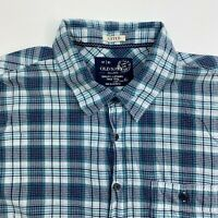 Old Navy Button Up Shirt Mens XXL Blue Plaid Short Sleeve Casual