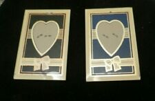 ART DECO REVERSE PAINTING HEARTS AND BOWS SMALL GLASS VINTAGE PICTURE FRAMES (2_