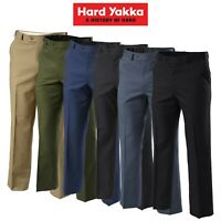 Mens Hard Yakka Trousers Permanent Press Pants Flat Front Work Teflon Job Y02594