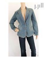 J Jill Denim Blazer Jean Jacket Light Blue Wash 2 Button Small NWOT