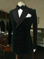Men Velvet Suit Jacket Coat Blazers Black Double Breasted Wedding Tuxedo Dinner