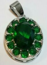 "Gorgeous Green Emerald Silver Pendant Chain: 24"" Silver Plated L34"