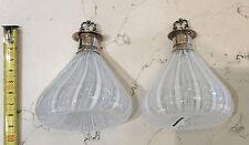 Porta profumo vetro Murano argento 800/°°° coppia nuovi H cm 10,00 tappo a vite