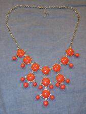 STATEMENT Necklace - BUBBLE Style Cavachons in RED - Gold Tone Chain - 24 in