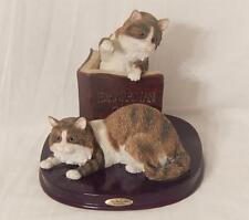 JULIANNA Cat Sculpture, Edwardian Cats, Wood Base, Used, GC, Local Free Shpg