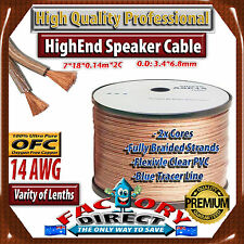 50M Roll HQ Professional 14AWG Gauge 100% Pure Copper OFC Speaker Cable)