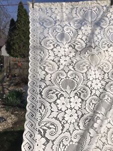 "VTG Farmhouse Shabby Chic Lace Shower Curtain Ivory 70"" x 72"""