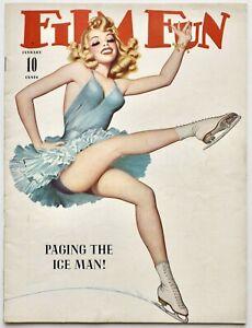 High-Grade Jan. 1942 Film Fun Magazine Deco Ice Skater Pin-Up Cover Enoch Bolles