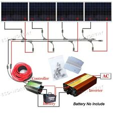 1KW 250W 24V Solar Panel 45A Controller Inverter 1000W Off Grid Kit Home System