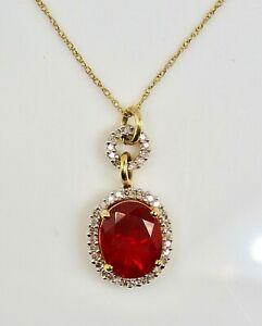 Garnet 2.60ct.& Diamonds 0.40ct.Pendant & Chain 46cm. - 18,11 inches 14k Gold