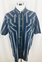 Ely Cattleman Blue Button Pearl Snap Button Front Western Shirt Mens 2XL XXL