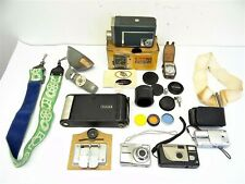 Vintage Lot Camera Parts Accessories Kodak A-130 Automatic 8 Canon Caps Lenses
