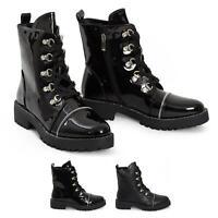 Womens Ankle Vintage Combat Army Boots Lace Up Diamante Military Biker Shoes