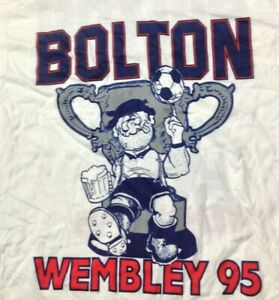 Bolton Wanderers Cup Final Wembley vintage 1990s T SHIRT XL Screen Stars UNWORN