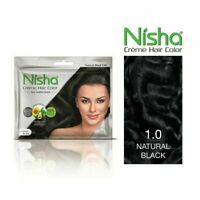 4 x Nisha cream hair color no ammonia NATURAL BLACK sunflower avocado oil henna!
