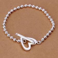 Stunning 925 Sterling Silver Classic 4MM Love Heart High Polished Bead Bracelet