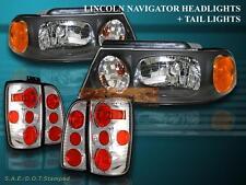 1998 1999 2000 2001 2002 LINCOLN NAVIGATOR HEADLIGHTS BLACK / TAIL LIGHTS CHROME