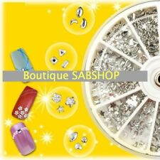 1200 STRASS NAIL ART / FAUX ONGLES / CILS / 12 FORMES / GRIS DIAMANT