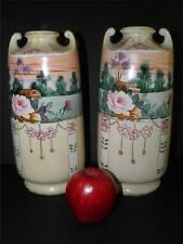 ANTIQUE PAIR HAND PAINTED ENAMEL SCENIC FLORAL ROSES NIPPON VASES