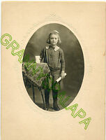 Antique Photo-Cute Little Girl Standing-Holding Rolled Paer & Bible (Book?) 8x6