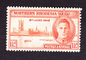 Northern Rhodesia GVI 1946 victory 1 1/2d perf 13.5 sg46a, mm,fine, cat £14