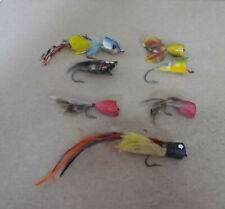 Small Collection of 7 Vintage Fly Rod Lures - Beautiful Tails - Unusual
