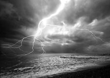 STUNNING LIGHTNING BOLT SEASCAPE CANVAS #4 BLACK & WHITE A1 PICTURE WALL ART
