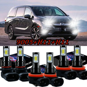 For Honda Odyssey 2011-2020 Combo LED Headlight High Low Beam Fog Light 6*Bulbs