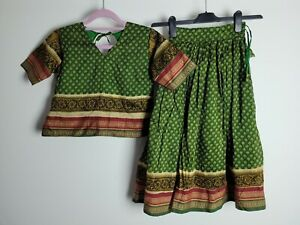 Girls Asian Indian Clothing Lengha Traditional Outfit Age 8 to 9 Green Party Eid